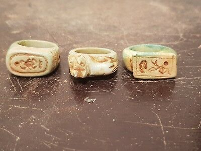 Rare Antique Ancient Egyptian 3 Rings Protective Amulet Scarab Gods1730-1640BC