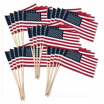 "10 American USA Stick Flags US Made 4X6"" Bulk Wholesale Hand held small mini"