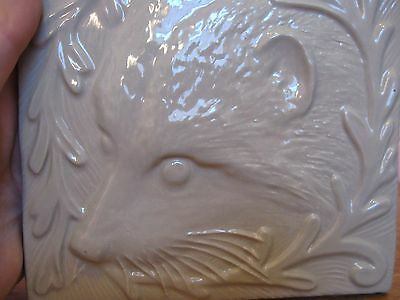 """Rare 6"""" Handcrafted Raised Pattern Raccoon Tile -  Arts and Crafts Style"""