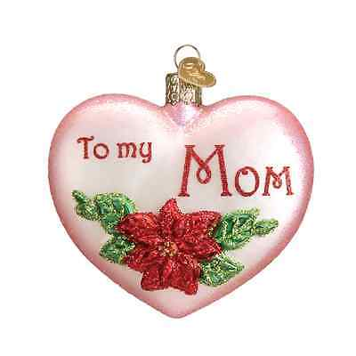 """Mom Heart"" (To my Mom) (30041)X Old World Christmas Glass Ornament"