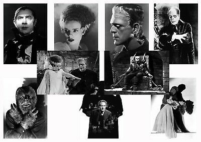 Classic Horror posters Frankenstein, Dracula, Wolf Man, Dr Jekyll  A5 A4 A3