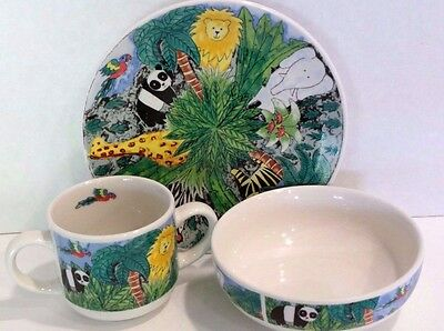 Retroneu Jungle Kids Three Piece Stoneware Dish Set
