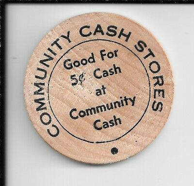 COMMUNITY CASH STORES, Spartanburg, South Carolina, SC, Wooden Nickel 5 cents