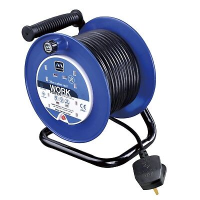 Heavy Duty Extension Lead Open Cable Reel 4 gang way mains 13A socket plug 25m