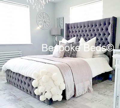 Kensington Wing Back Velvet Bed Frame Chesterfield Studded Headboard And Sides