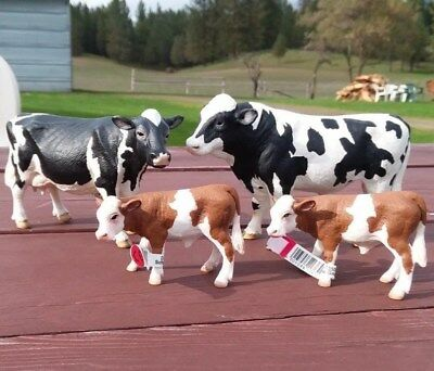 Schleich Holstein Bull Dairy Cow, female cow and two calves all new with tags!!!