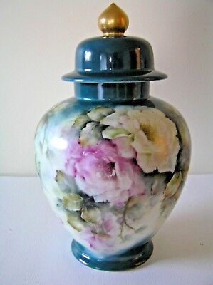 Frostenberg Germany Tall Porcelain Hand Painted Roses Lidded Urn Vase Ginger Jar