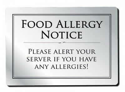 Food Allergy Sign Pub Bar Restaurant Notice Allergen Warning Law Sign