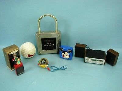 Lot Of 6 Vtg Am/fm Transistor Battery Novelty Radios Mickey Mouse Stereo Lock