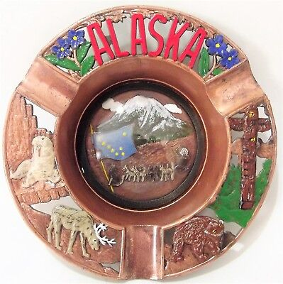 Alaska State Souvenir Metal Tray ASHTRAY Painted Tin w/ glass Japan 60s-70s 5""