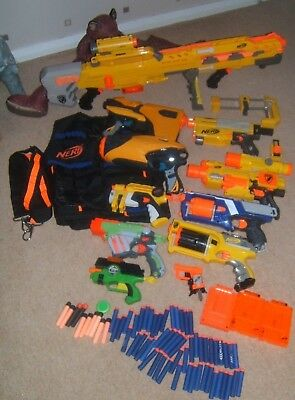 Nerf Gun huge Bundle  including Long Shot Machine Gun dart tag  64 bullets TOYS