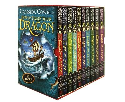 NEW How to Train Your Dragon: 10 Books Box Gift Set Hiccup by Cressida Cowell