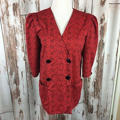 KR of NY Vintage Womens Red Floral Career 9/10 Double Breasted Blazer Made USA