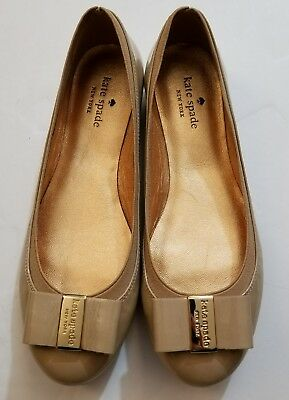 191132dd39f8 Kate Spade NY Camel Patent Leather Elastic Tock Ballet Bow Flats Shoes 7.5
