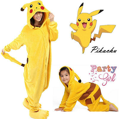 Unisex Adults/Kids Onesie11 Kigurumi Pajamas Cosplay Costume Pikachu Sleepwear
