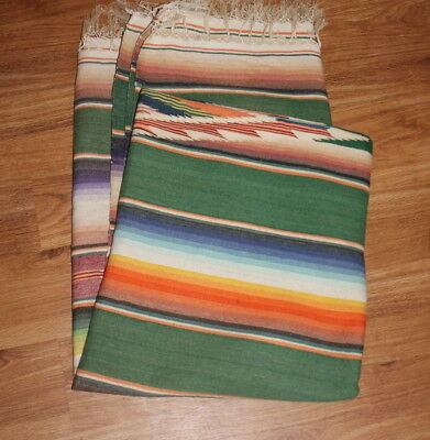 Old GIANT Vintage Mexican Saltillo Blanket Serape Kilim Rug - 69x90 inches