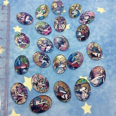 20 x Oval glass cabochon Alice in Wonderland Images Fit 13x18mm Tray Flat Back