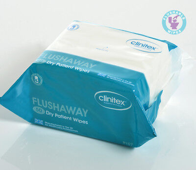 Clinitex Flushable Wipes - Dry Wipes or Wet Wipes - R107 or R302 - Pack of 50