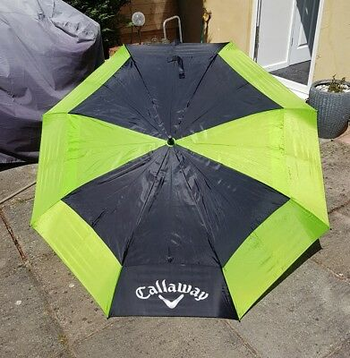 "Stunning Callaway Double Canopy 60"" Golf Umbrella, Plus Sleeve, Automatic Open"