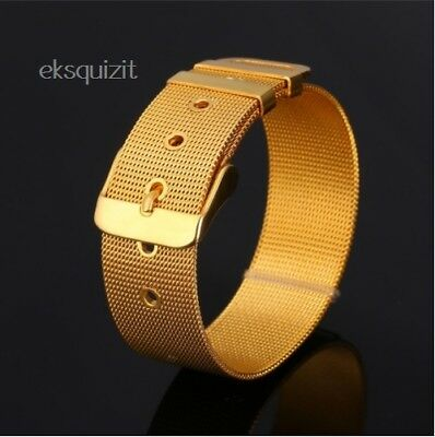 24k GOLD PLATED BELT BRACELET MESH BUCKLE BANGLE
