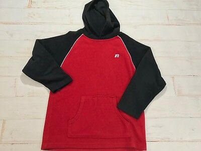 Vintage 90s Russell Athletic Red Black Color Block Fleece Hoodie Sweater Boys L