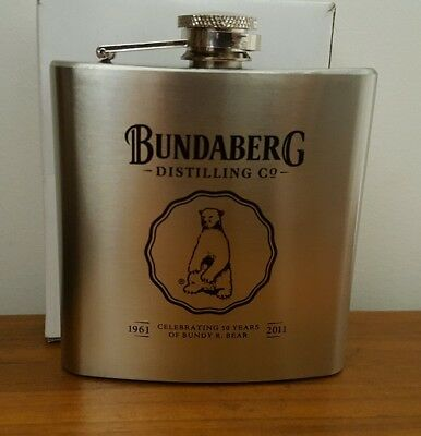 "Bundaberg ""Bundy"" Rum 50 years commemorative Stainless Steel Hip Flask  Man Cave"