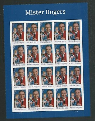 2018 #5275 Mister Rogers Pane of 20 Forever Stamps MNH
