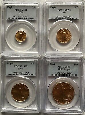 2004 Gold Eagle Pcgs Ms70 4-Coin Set ($5, $10, $25, $50)