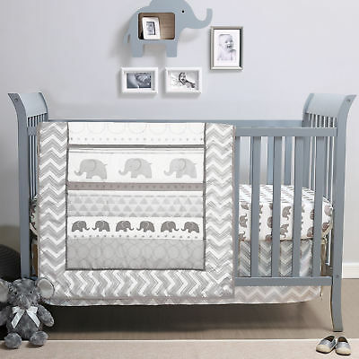 Elephant Walk 4 Piece Chevron Unisex Grey & White Baby Crib Bedding by Belle