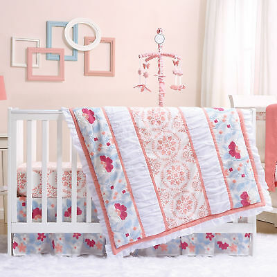 Camilla Coral & Blue Embroidered Floral Baby Girl Crib Bedding - 11 Piece Set