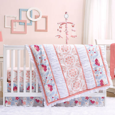 Camilla Coral & Blue Embroidered Floral Baby Girl Crib Bedding - 20 Piece Set