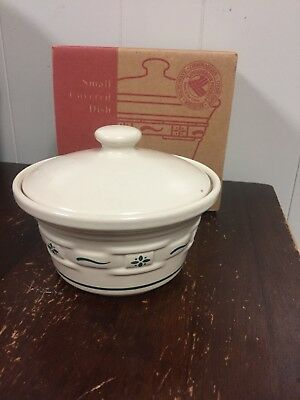 Longaberger Small Covered Dish Pottery Candy Heritage Green Lid woven traditions