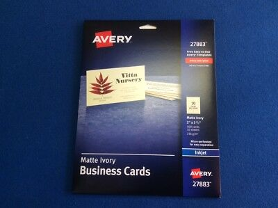 """Business cards, ivory matte, 2"""" x 3.5"""" 10 sheets, 10 cards per sheet Avery 27883"""