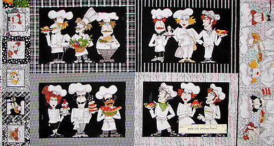 """Loralie Chef Fabric - Place Mat Panel Cook Chefs Whats Cookin Kitchen 24"""" PANEL"""