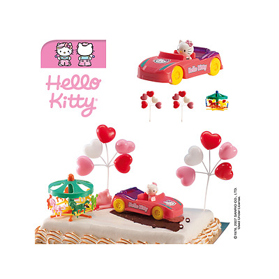 Hello Kitty  Set Torten Topper für Fondant Torte Auto Kitty...