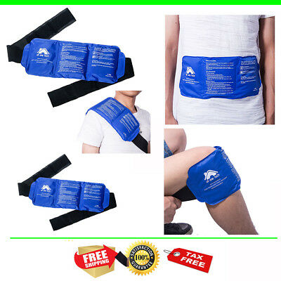 Ice Pack Gel Wrap Hot Cold Therapy Pain Relief Back Shoulder Neck Ankle Reusable