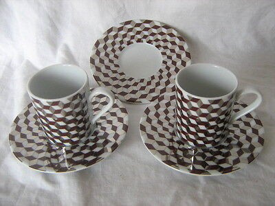 2 3D CUBE check LSA International coffee cups and saucers plus extra ...