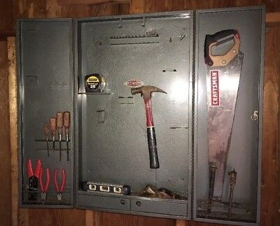 Vintage Craftsman Tool Cabinet With Key Wall Mount Metal Box & VINTAGE CRAFTSMAN Tool Wall Cabinet - $150.00 | PicClick