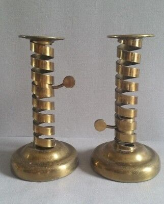 Pair of Vintage Copper Spiral Candlesticks by Laurence Butler (England 30s)