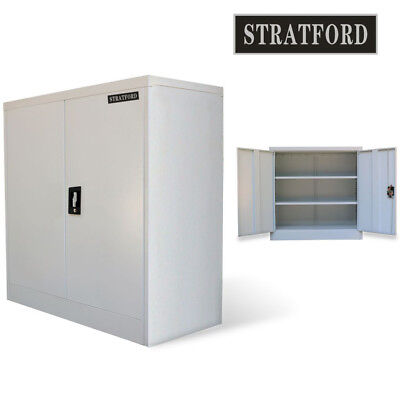 Metal Office Filing Cabinet Steel Tool Storage Cupboard 2 Shelves Lockable Door