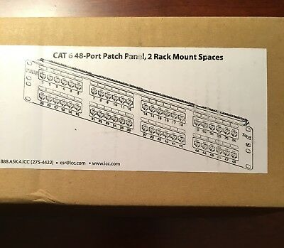 BRAND NEW ICC Cat 6a, 48-port Patch Panel, 2 Rack Mount Spaces
