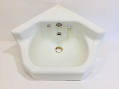 Antique Cast Iron White Porcelain Corner Sink Vintage Bathroom Kohler Small
