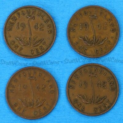 Lot Of 4X 1942 Newfoundland Nfld 1 Cent Penny Copper