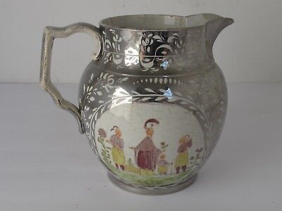 Antique English Staffordshire Silver Luster Pitcher  Chinese Family in Color