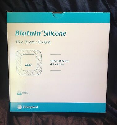 Biatain Silicone Foam Dressing 6 X 6 in. Lot Of 1 Box of 5 Dressings.