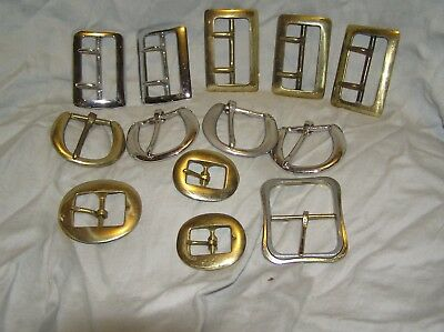 Lot Of 12 VIntage Belt Strap Buckles Mixed North Judd Solid Brass Horse Tack