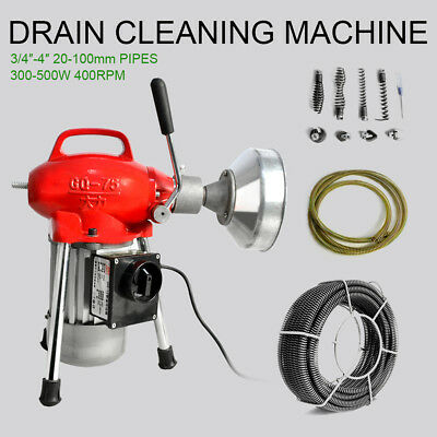 """3/4""""~4"""" Sectional Pipe Drain Cleaning Machine Snake Cleaner Electric Snake Sewer"""