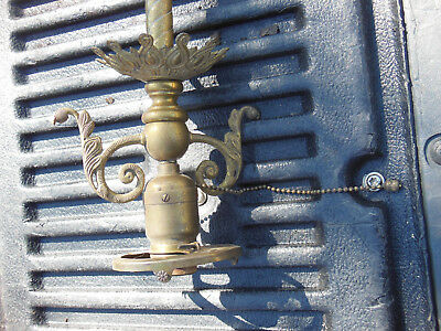 RARE Antique brass ceiling single bulb fixture victorian EARLY HUBBELL SOCKET