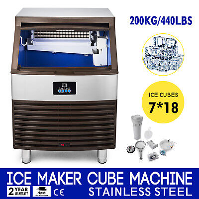 Ice Cube Making Machine 440lb/24h Commercial Ice Maker Stainless Steel 110v