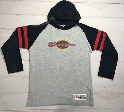 Vintage Champion Sport Kids Football Hoodie Color Block Light Sweatshirt Large